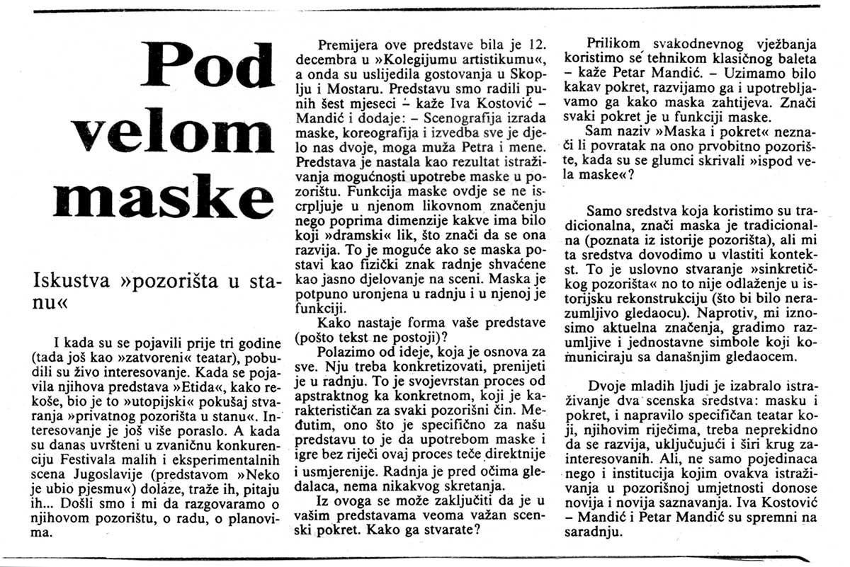 Press: Theatre Maska i Pokret - Somebody has Killed the Play - UNDER THE VEIL OF THE MASK - Marko Kovačević