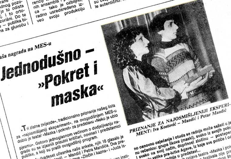 "Press: Theatre Maska i Pokret - Somebody has Killed the Play - UNANIMOUSLY - ""MASKA I POKRET"" - MESS Festival - Velimir Stojanović"