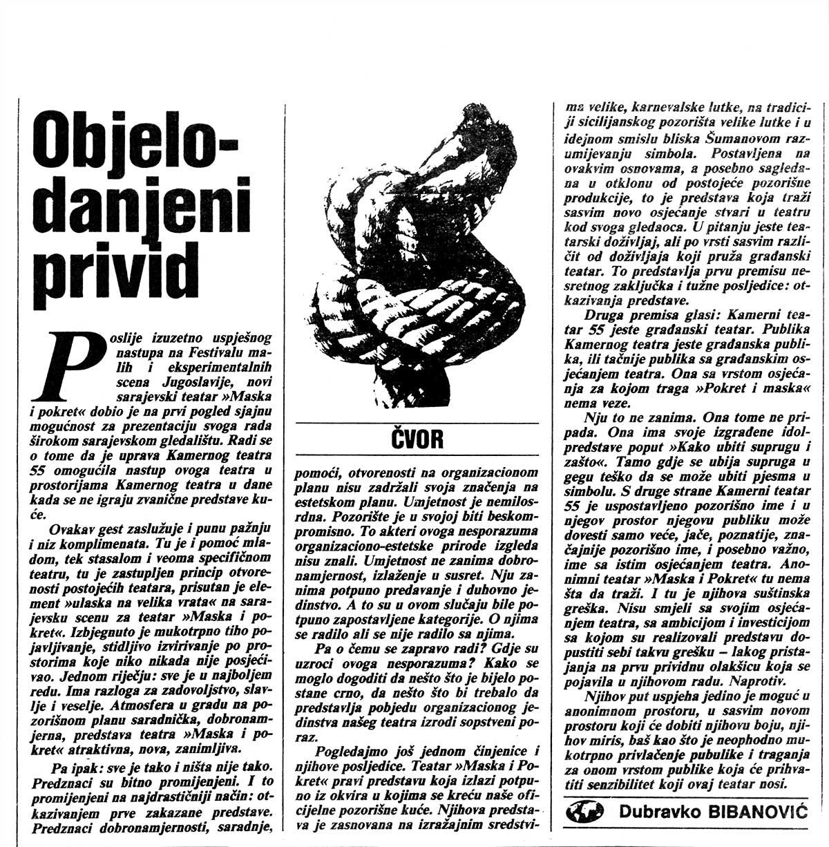 Press: Theatre Maska i Pokret - Somebody has Killed the Play - DISCLOSED DELUSION - Dubravko Bibanović