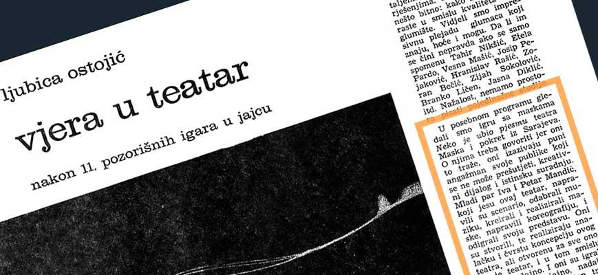 Press: Theatre Maska i Pokret - Somebody has Killed the Play - FAITH IN THEATER - Ljubica Ostojić