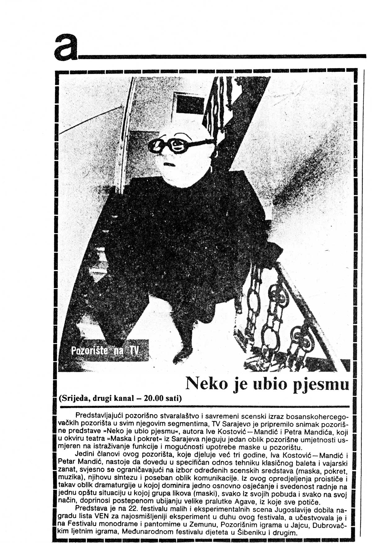 Press: Theatre Maska i Pokret - Somebody has Killed the Play - SOMEBODY HAS KILLED THE PLAY ON TV - TV Sarajevo