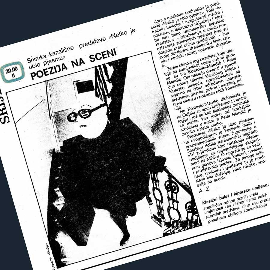 Press: Theatre Maska i Pokret - Somebody has Killed the Play - POETRY ON STAGE - TV Zagreb