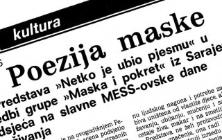 Press: Theatre Maska i Pokret - Somebody has Killed the Play - THE POETRY OF MASK - Dalibor Foretić