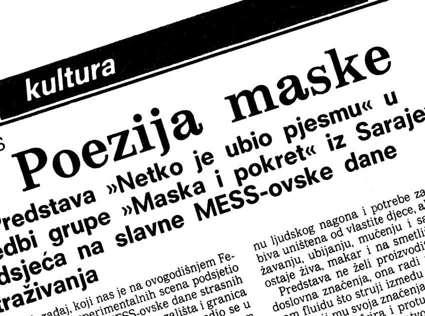 Press: Theatre Maska i Pokret - Somebody has Killed the Play - THE POETRY OF MASK - Dalibor Foretić