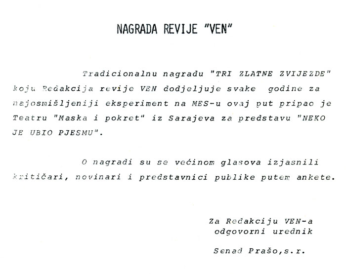 "Press: Theatre Maska i Pokret - Somebody has Killed the Play - ""VEN"" MAGAZINE AWARD - MESS Festival"